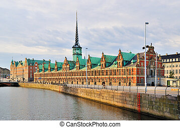 Copenhagen Old Stock Exchange building with a spire in the...