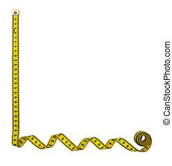 Tape measure border frame isolated - For bottom left hand...
