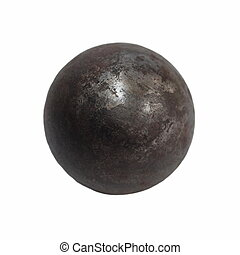 Old Iron metal ball isolated on white background