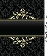 golden frame on seamless baroque background