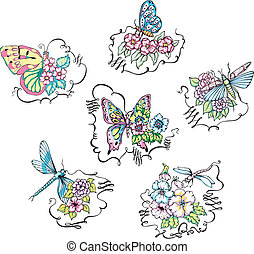 Butterflies and dragonflies on flowers