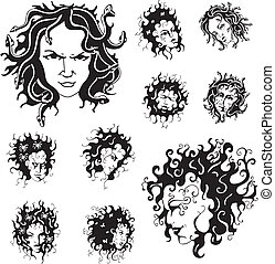 Medusa faces. Set of black and white vector illustrations.
