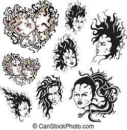 Medusa faces. Set of color and black/white vector...