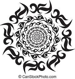 Round tribal decorative pattern