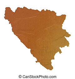 Textured map of Bosnia and Herzegovina map with brown rock...