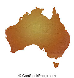 Textured map of Australia - Australia map with brown rock or...
