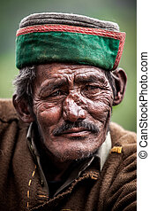 Portrait of an old man of Indian villages.