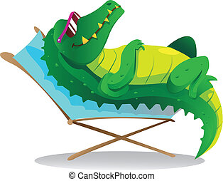 Sun tanning croc - cool crocodile wearing eyeglasses sun...