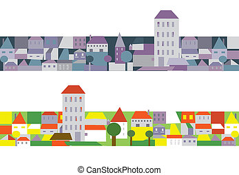 City houses banners funny cartoons