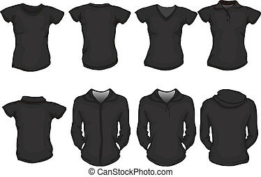 female shirts template in black - a set of female shirts...