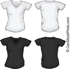 black white female v-neck shirt