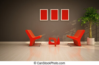 Modern living room  with orange chairs