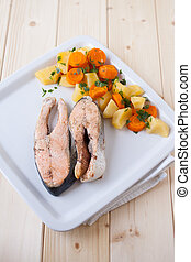 Salmon steaks with vapor cooked veggies