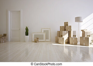 Moving house - Interior moving house  with cardboard boxes