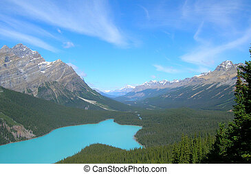Canadian Rockies Bow Summit valley, with river going between...