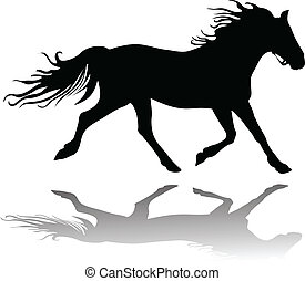 Running horse - Vector Illustration of