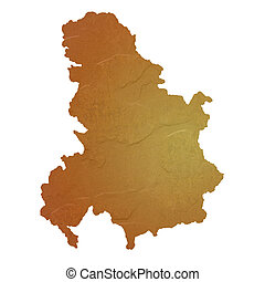 Textured map of Serbia and Montenegro map with brown rock or...