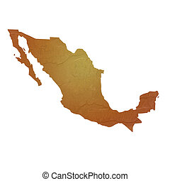 Textured map of Mexico map with brown rock or stone texture,...