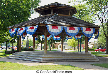 Bandstand with bunting - Bandstand with 4th of July bunting,...
