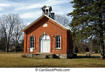 One room schoolhouse - One-room schoolhouse with tree,...