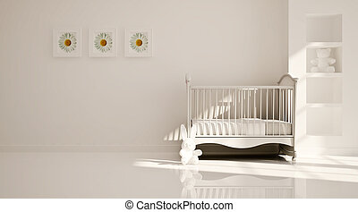 Minimal modern interior of nursery - Interior of nursery in...