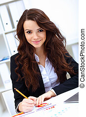 Young busines woman with notebook - Young pretty business...