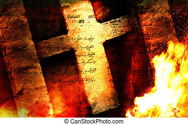 Christian cross on an abstract background