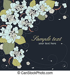 Floral vector background with blue hydrangea