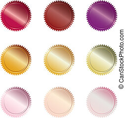 Warm Colored Buttons - Set of 9 warm-colored seal-styled...