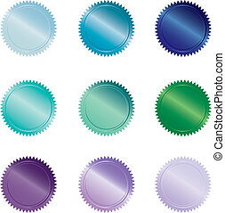 Cool-colored Buttons - Set of 9 coool-colored seal-style...