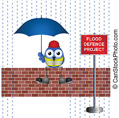 flood defence project - Comical construction worker on flood...
