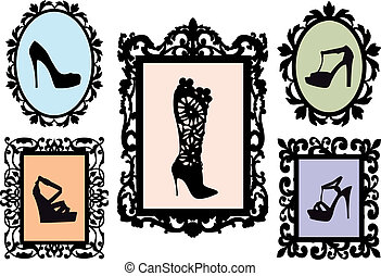 shoe silhouettes in antique frames - shoe silhouettes in...