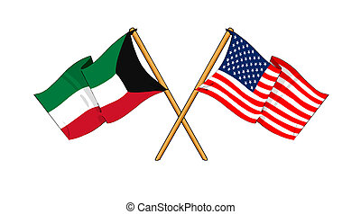 America and Kuwait alliance and friendship - cartoon-like...