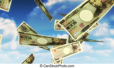 Money from Heaven - JPY (Loop) - 10000 Japanese Yen bills...