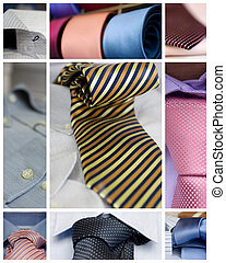 Neckties and shirts - Collage of various Neckties and shirts