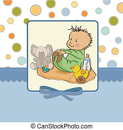 little baby boy play with his toys. shower card in vector...