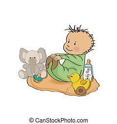 little baby boy play with his toys shower card in vector...