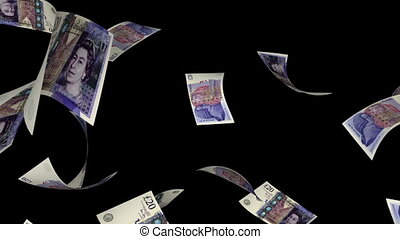 Falling Pounds (Loop - Matte) - Falling Pound Sterling bills...