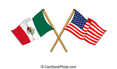 America and Mexico alliance and friendship - cartoon-like...