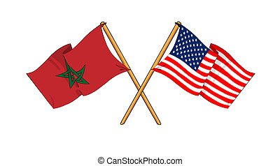 America and Morocco alliance and friendship - cartoon-like...