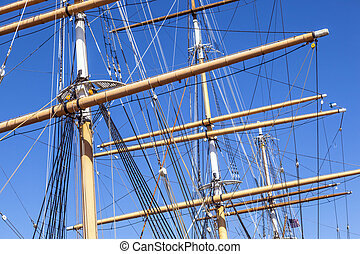 Detail of the three-master Balclutha (1886), San Francisco...