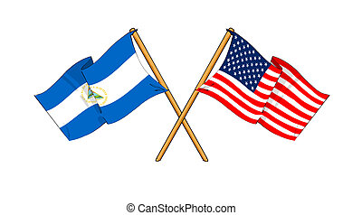 America and Nicaragua alliance and friendship - cartoon-like...