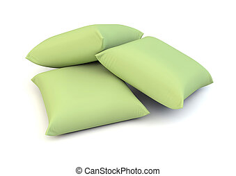 green pillows - render of three green pillows