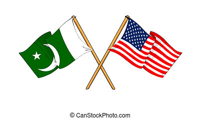 America and Pakistan alliance and friendship - cartoon-like...