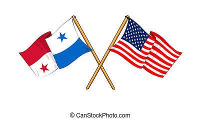 America and Panama alliance and friendship - cartoon-like...