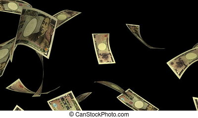 Falling Yen (Loop - Matte) - Falling Japanese Yen bills...