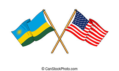 America and Rwanda alliance and friendship - cartoon-like...