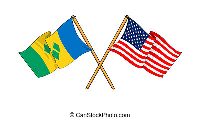 cartoon-like drawings of flags showing friendship between...