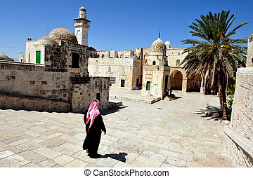 Israel Travel Photos - Jerusalem - Muslim man on Temple...