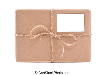 A parcel wrapped in brown paper and tied with rough twine...
